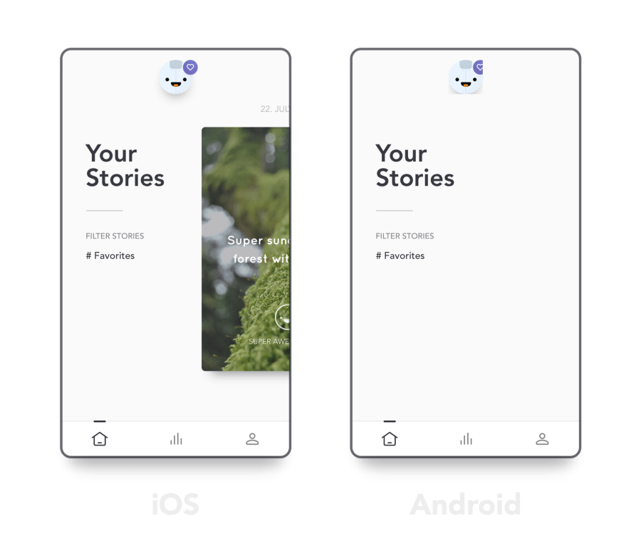 Reflectly's screenshots on differences between iOS and Android versions of their app before they moved to Flutter